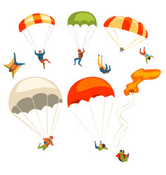 skydivers flying with parachutes set extreme vector image