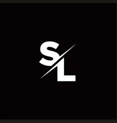 Sl logo letter monogram slash with modern logo vector