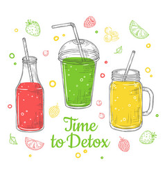 Smoothie background summer drink doodle healthy vector