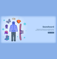 snowboard banner horizontal man cartoon style vector image