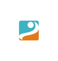square swoosh logo vector image