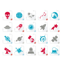 stylized astronomy and space icons vector image