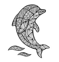Stylized dolphin zentangle vector