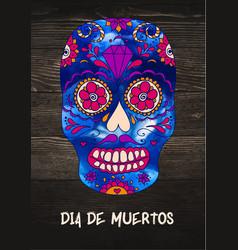 Sugar skull mexican skull on wooden vector