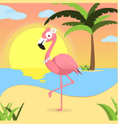 Summer background with pink flamingo of beach at vector