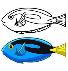 Surgeon fish in colored and line versions vector