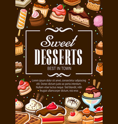 sweet desserts bakery shop pastry cakes vector image