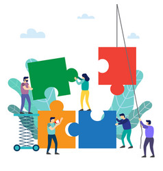 teamwork people connecting puzzle elements vector image