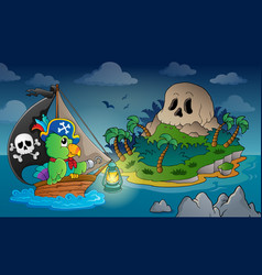 Theme with pirate skull island 1 vector