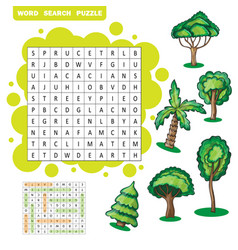 Trees themed word search puzzle vector