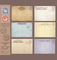vintage postcards and stamps vector image