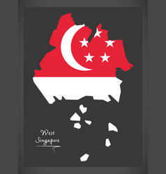 West singapore map with national flag vector