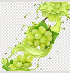 white grape branch in grape juice splash realistic vector image