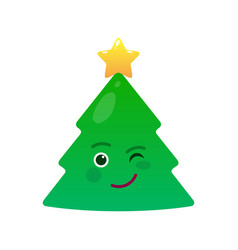 winking christmas tree isolated emoticon vector image