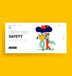 Wrong way to burn firework landing page template vector