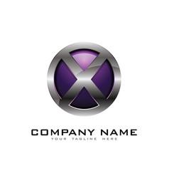 x 3d circle chrome letter logo icon design vector image