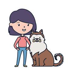 Young woman with dog love adoption campaign vector