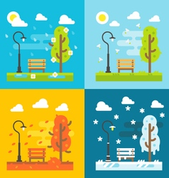 4 seasons park flat design set vector image