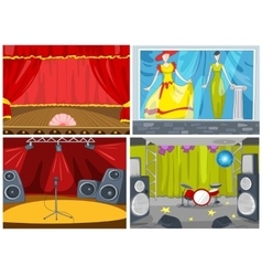 cartoon set of theater and disco background vector image vector image