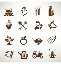 farm and agriculture icons collection vector image