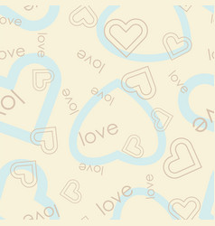 heart symbol with love text seamless pattern vector image vector image
