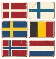 Set of vintage metal signs with flags vector image vector image