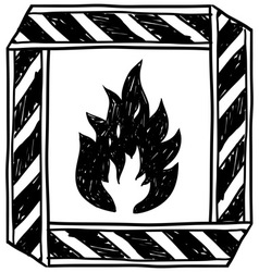 doodle flammable vector image