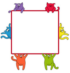 funny cats around a square billboard vector image vector image