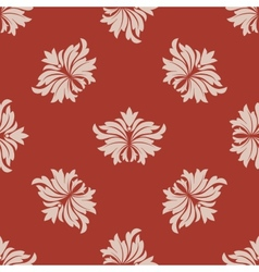 Red and beige seamless floral pattern vector image