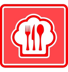 restaurant icon on red background vector image