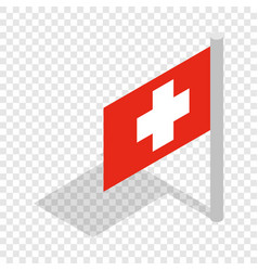switzerland flag isometric icon vector image vector image