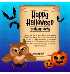 Banner happy Halloween and owl with two pumpkins vector image vector image