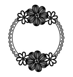 dark contour flowers emblem icon vector image vector image