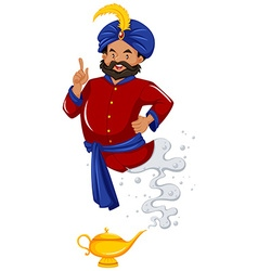 Genie in red shirt came out of lamp vector