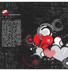 Grunge background with hearts vector image vector image