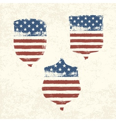 shield shaped american flag set vector image