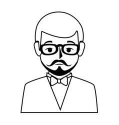 silhouette half body man formal style with vector image vector image