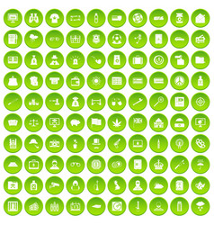 100 police icons set green circle vector image vector image