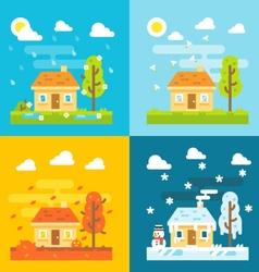 4 seasons house flat design set vector image
