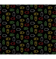 Colors battery seamless pattern dark technology vector image
