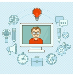 creative manager - online buisness concept with ic vector image vector image