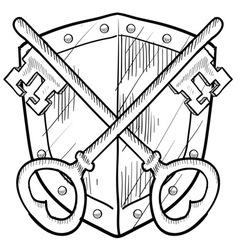 doodle shield keys safe secure vector image vector image