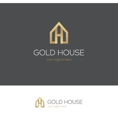 Golden house logo with letter h vector image vector image