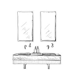 Hand drawn bathroom interior vector image vector image