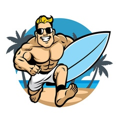 muscle body surfer running at the beach vector image vector image