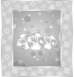 set christmas balls on snowflakes background - vector image