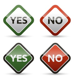 YES - NO color board with shadow on white vector image