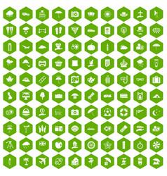 100 umbrella icons hexagon green vector