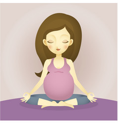 a pregnant woman sitting doing yoga vector image