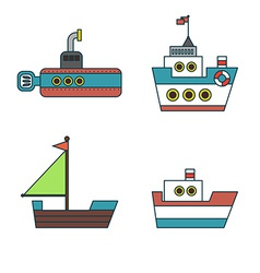 Abstract Ships Thin Line Icons Set vector